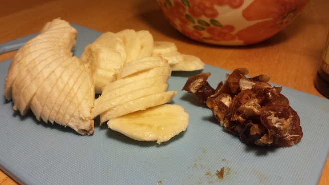 Sliced bananas and chopped dates